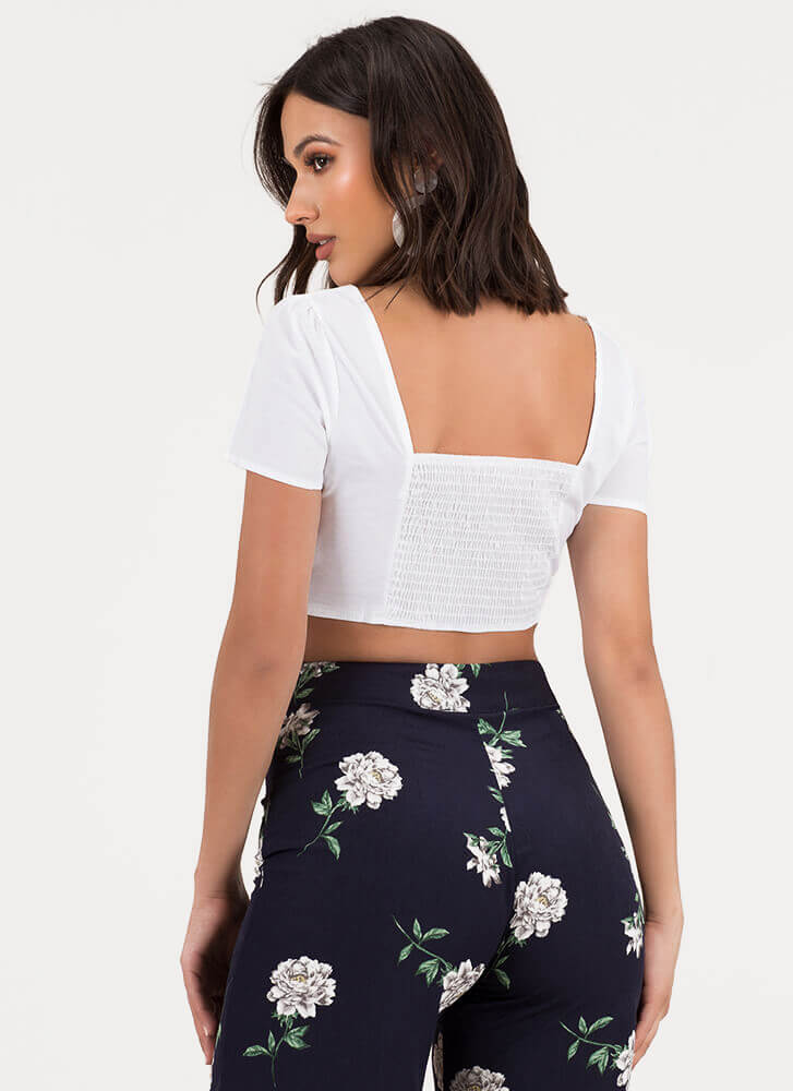 Little Victories Snap Button Crop Top WHITE