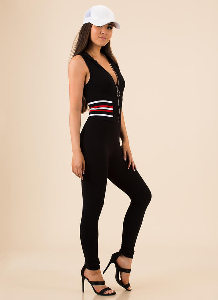 My Stripes Zip-Front Hoodie Jumpsuit BLACK