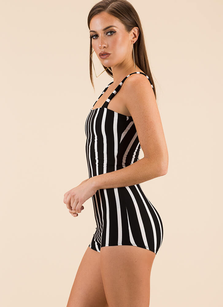 Next On The Lineup Striped Romper BLACK