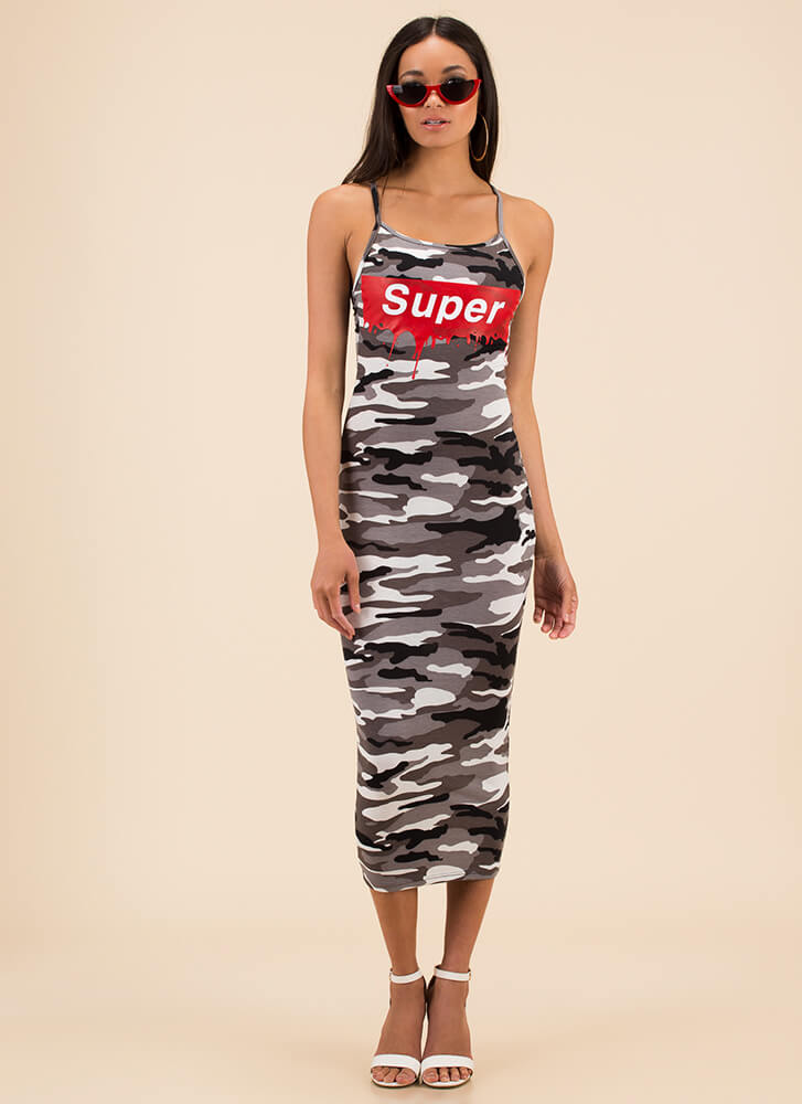 Super Star Graphic Camo Print Maxi GREY