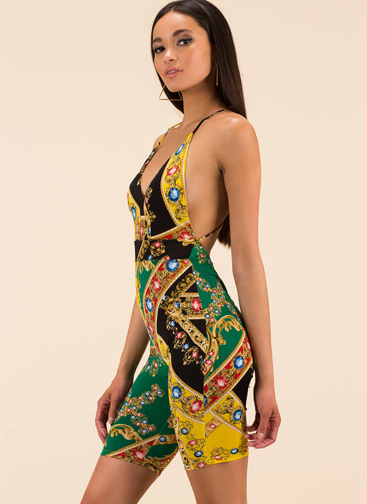A Little Gem Baroque Print Romper MULTI