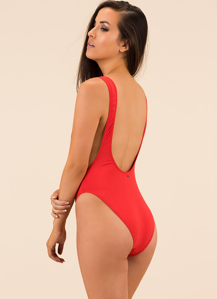 Mermaid Queen Graphic Swimsuit RED (Final Sale)