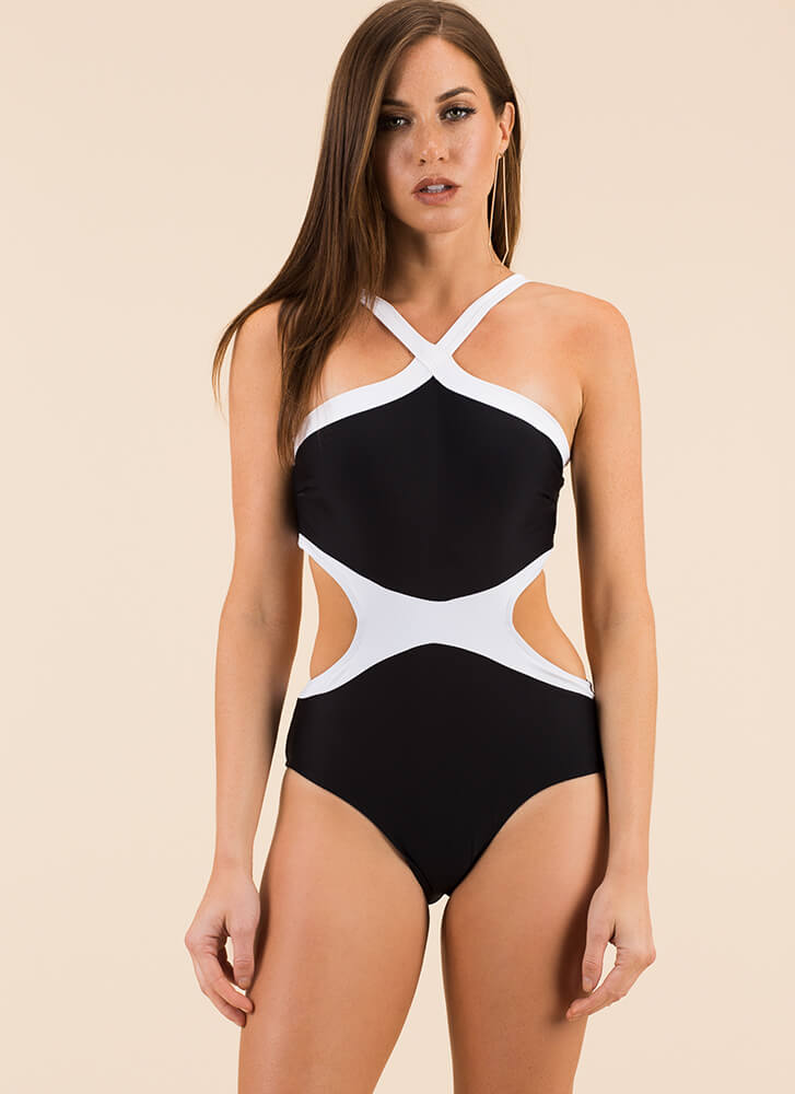 Simply Stunning Two-Toned Swimsuit BLACK