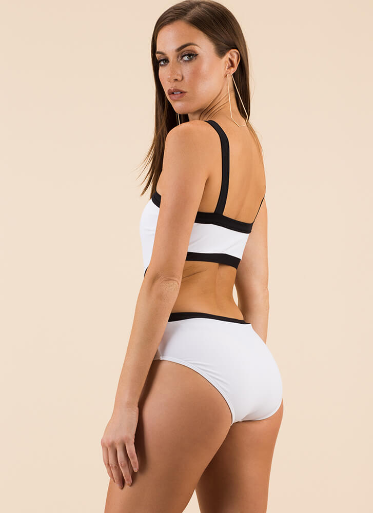 Simply Stunning Two-Toned Swimsuit WHITE