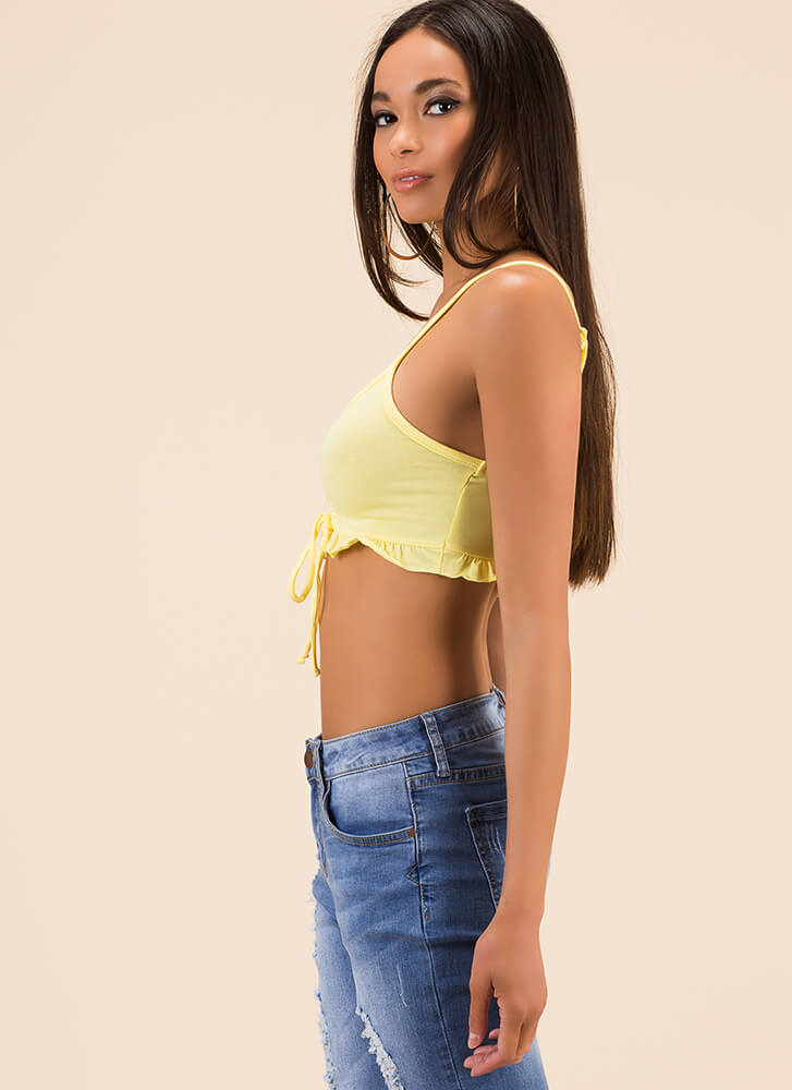 Small Stuff Ruffled Cropped Tank Top LEMON