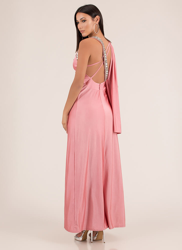 Drape Expectations Jeweled Satin Gown PEACH (Final Sale)