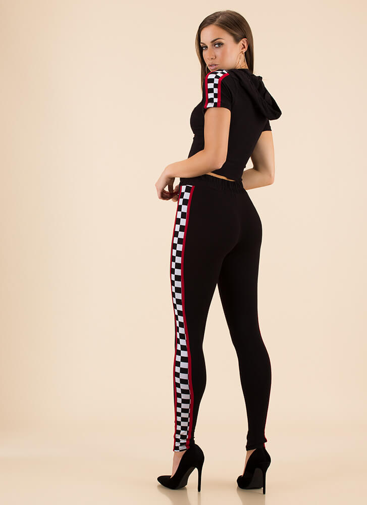 Top Speed Checkered Top And Legging Set BLACK