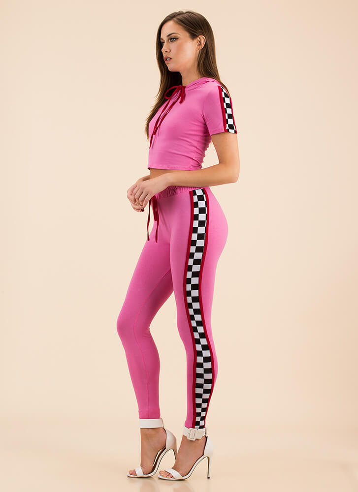 Top Speed Checkered Top And Legging Set PINK