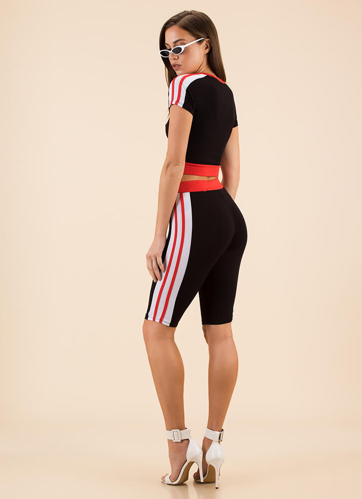 Earned My Stripes Top And Shorts Set BLACK