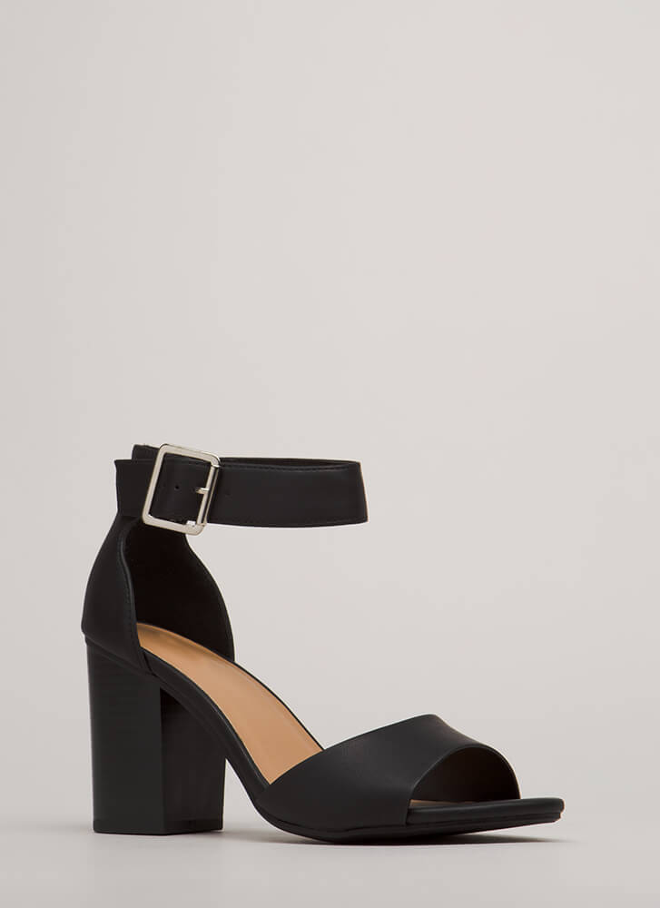 You're Blocked Chunky Faux Leather Heels BLACK