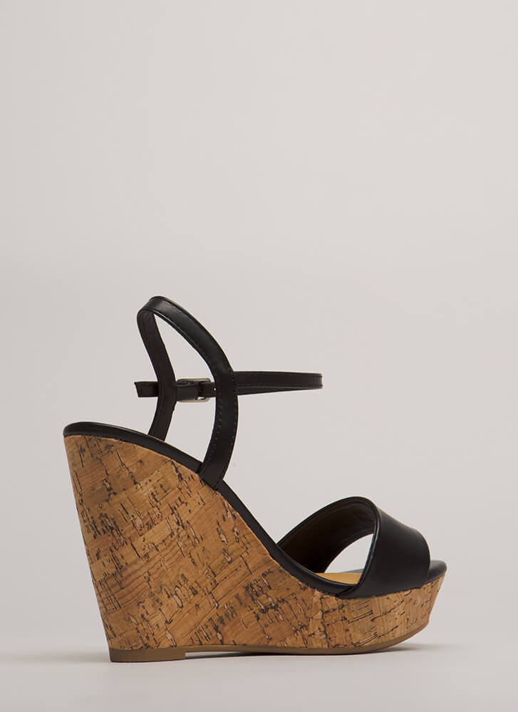 Cork It Faux Leather Platform Wedges BLACK