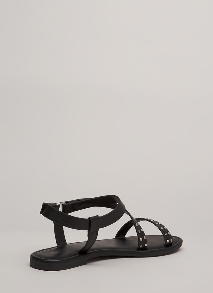 You Stud You Strappy Ringed Sandals BLACK