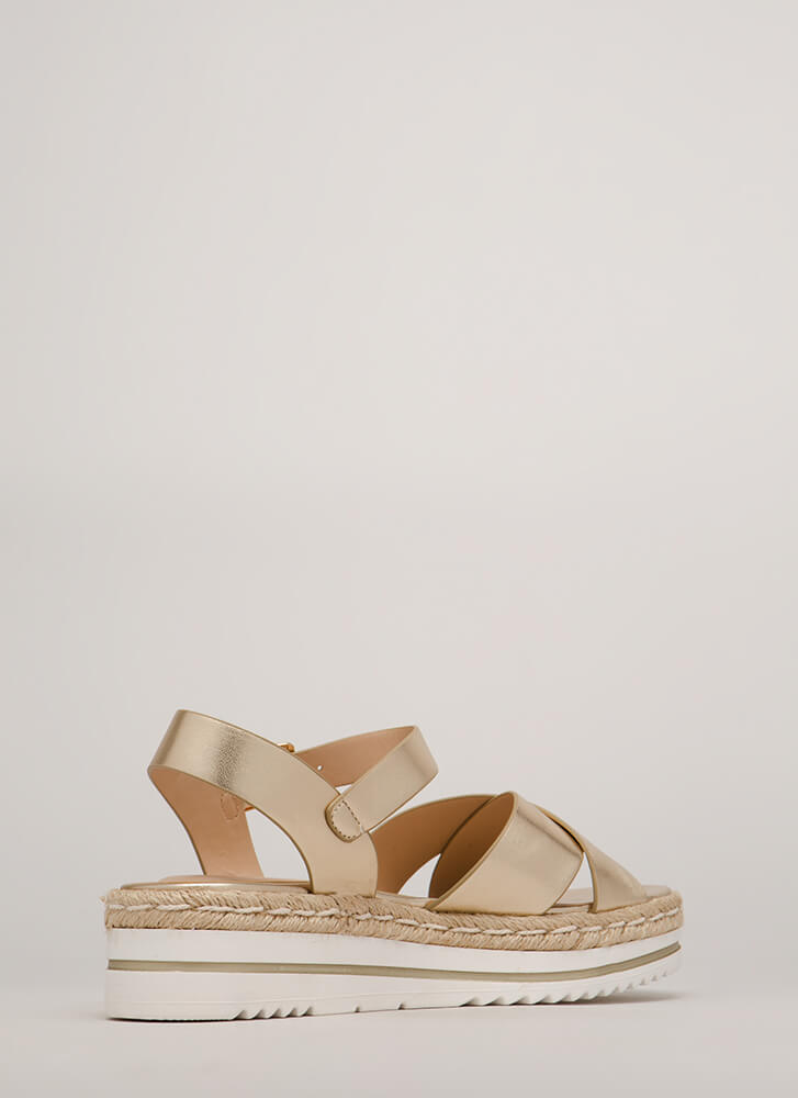 Life's A Picnic Braided Platform Sandals LTGOLD