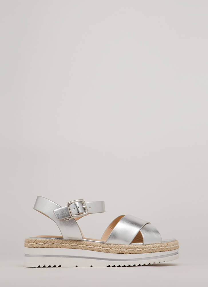 Life's A Picnic Braided Platform Sandals SILVER