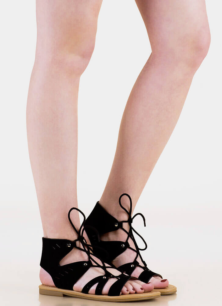 Slittin' Pretty Cut-Out Lace-Up Sandals BLACK