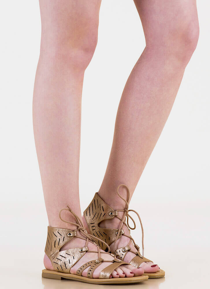 Slittin' Pretty Metallic Lace-Up Sandals LTBRONZE