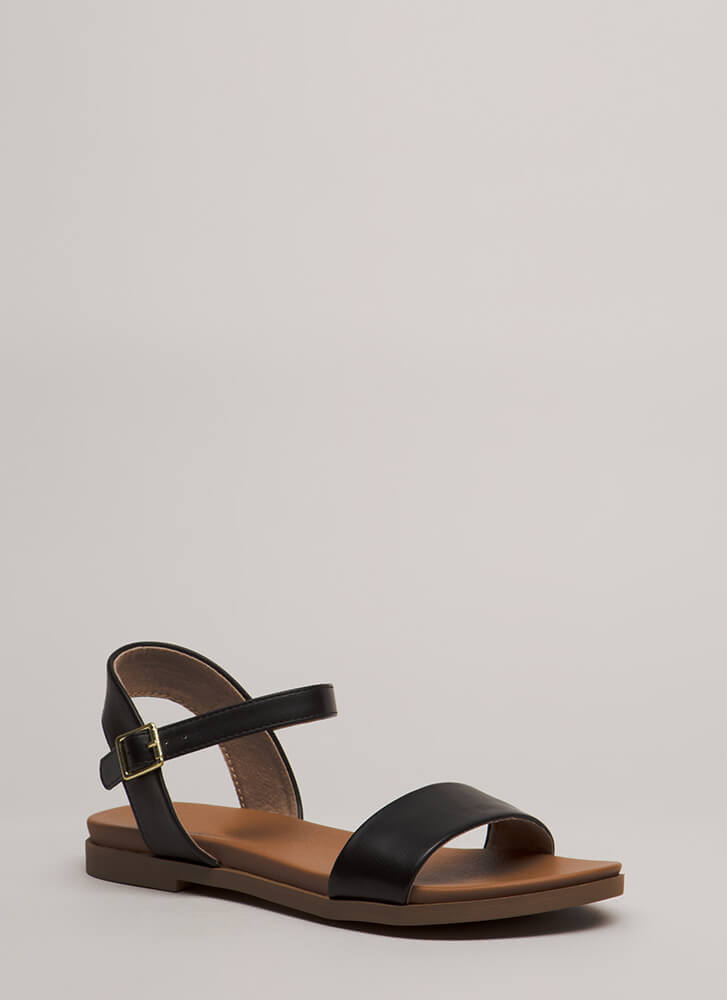 Take A Walk Strappy Faux Leather Sandals BLACK (You Saved $14)