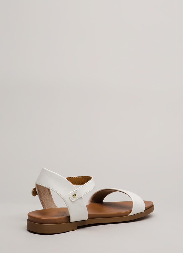 Take A Walk Strappy Faux Leather Sandals WHITE