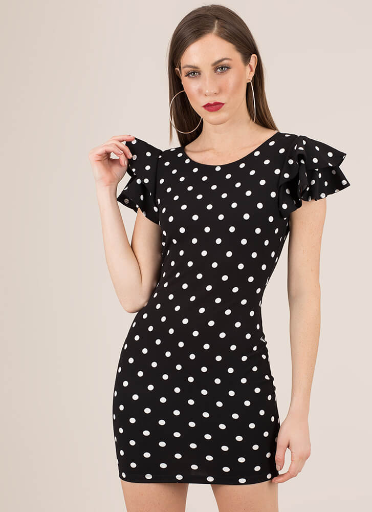 Spot On Ruffle Sleeve Polka Dot Dress BLACK