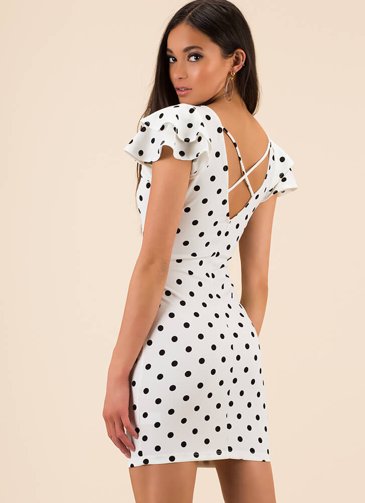 Spot On Ruffle Sleeve Polka Dot Dress WHITE