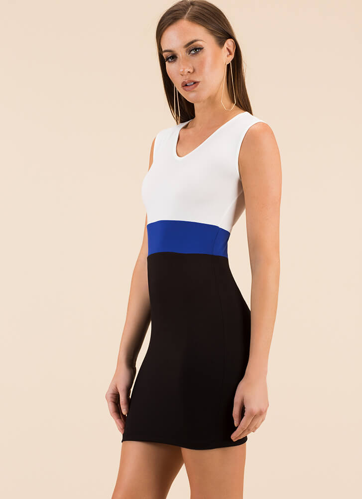 Count To Three Colorblock Minidress BLACKROYAL