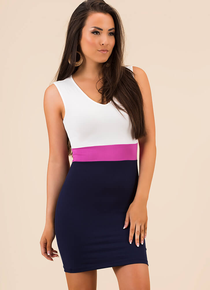 Count To Three Colorblock Minidress NAVYROSE