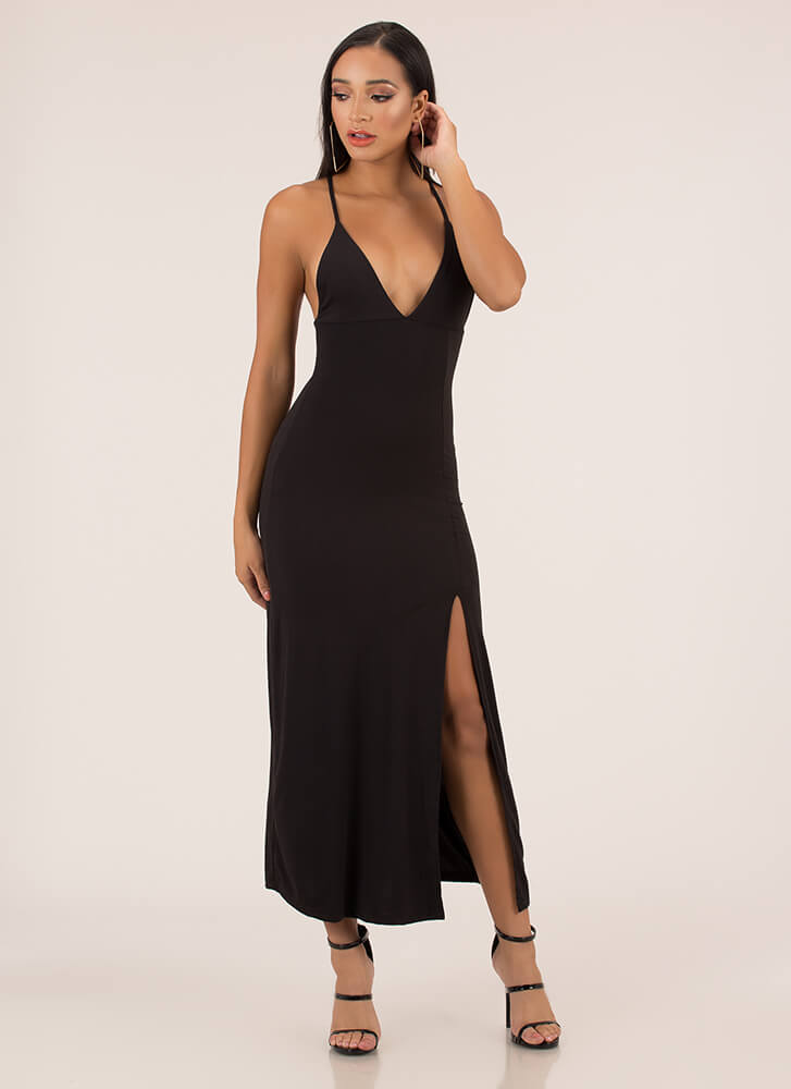 Take A Look Plunging Slit Maxi Dress BLACK