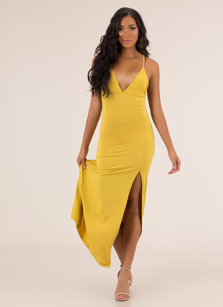 Take A Look Plunging Slit Maxi Dress MUSTARD