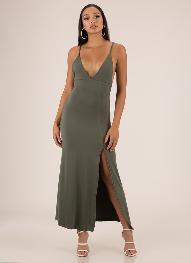 Take A Look Plunging Slit Maxi Dress OLIVE