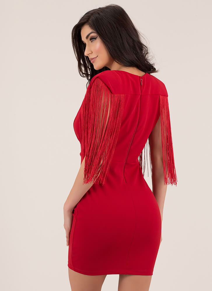 On My Shoulders Plunging Fringed Dress RED