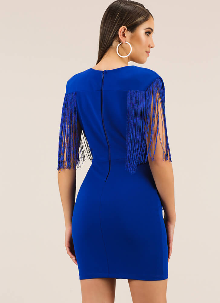 On My Shoulders Plunging Fringed Dress ROYAL