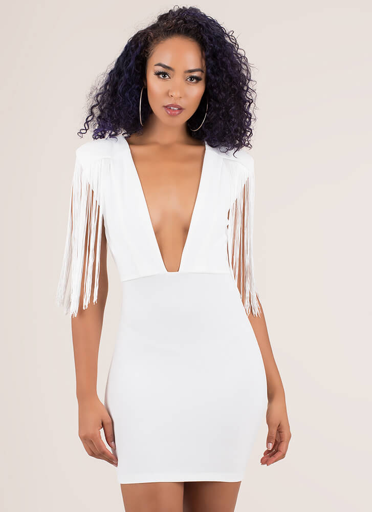 On My Shoulders Plunging Fringed Dress WHITE (You Saved $24)
