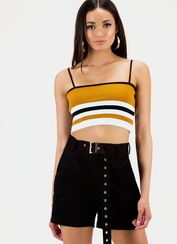 Stay In Line Striped Cropped Tank Top MUSTARD