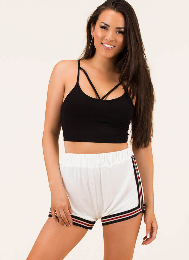 Looking Good Is A Sport Striped Shorts WHITE (You Saved $13)