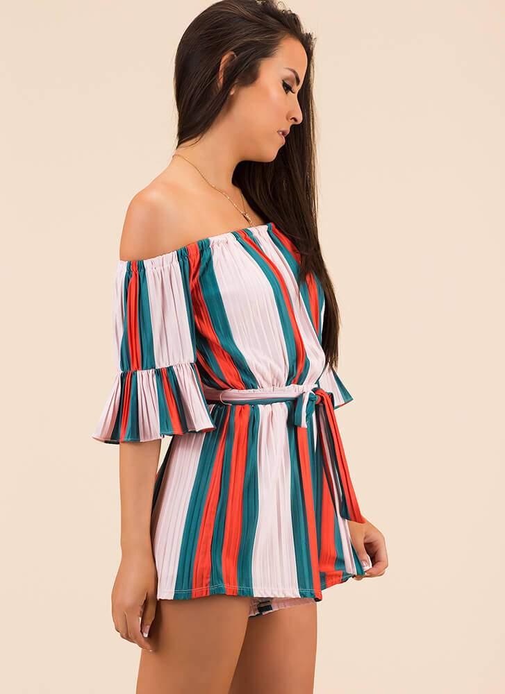 Very Pleats Striped Off-Shoulder Romper PINKGREEN