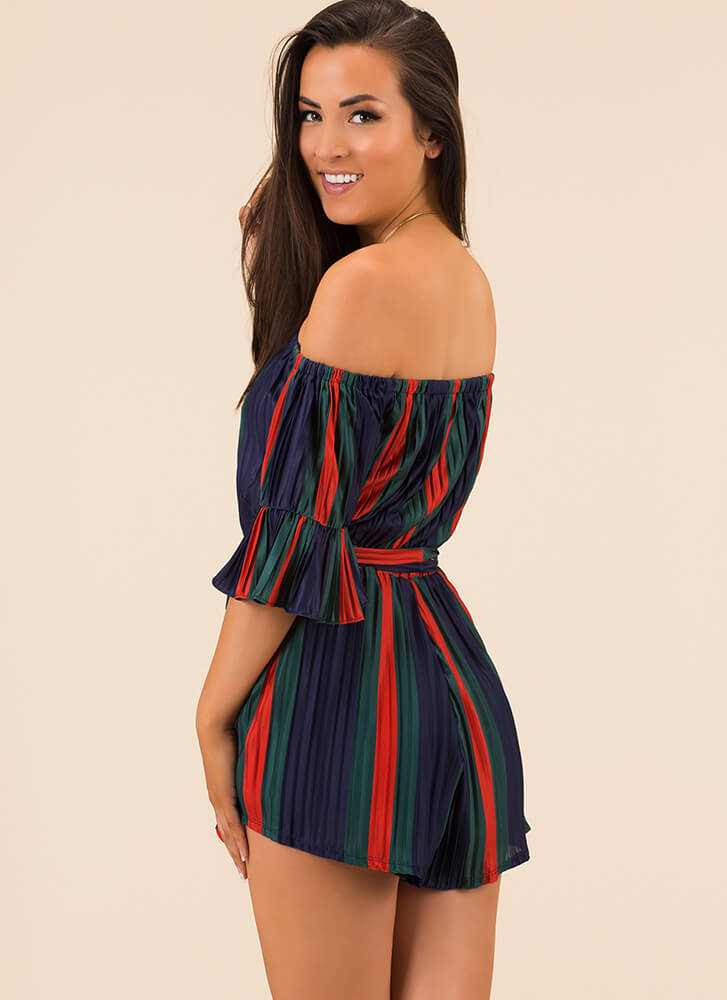 Very Pleats Striped Off-Shoulder Romper REDGREEN