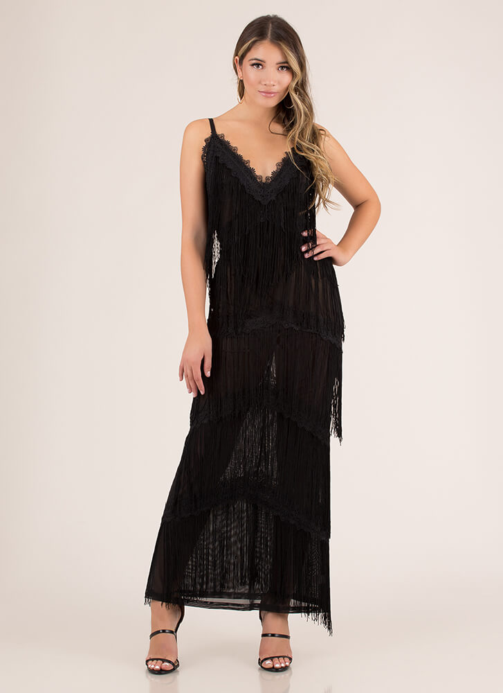 Special Night Tiered Fringe Gown BLACK (Final Sale)