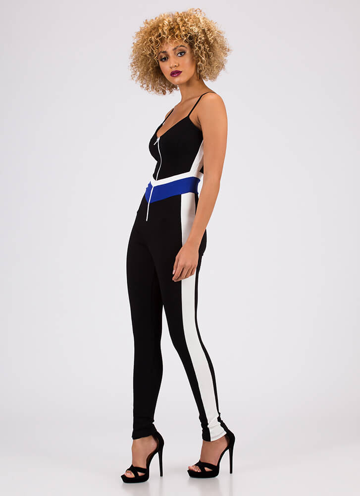Fierce Competitor Striped Jumpsuit ROYAL (You Saved $30)