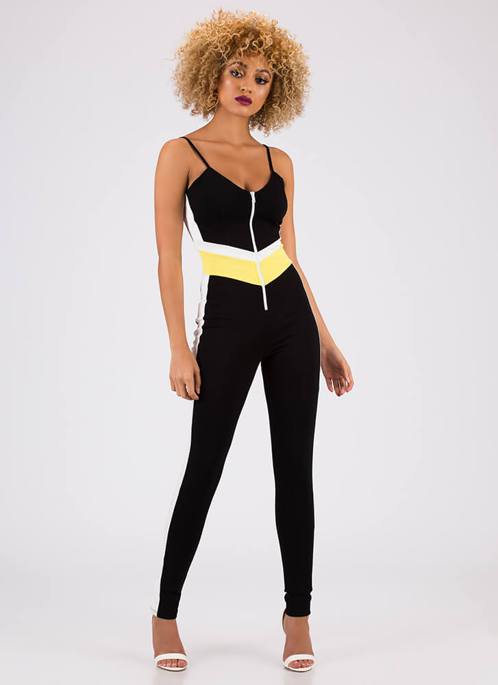 Fierce Competitor Striped Jumpsuit YELLOW (You Saved $30)