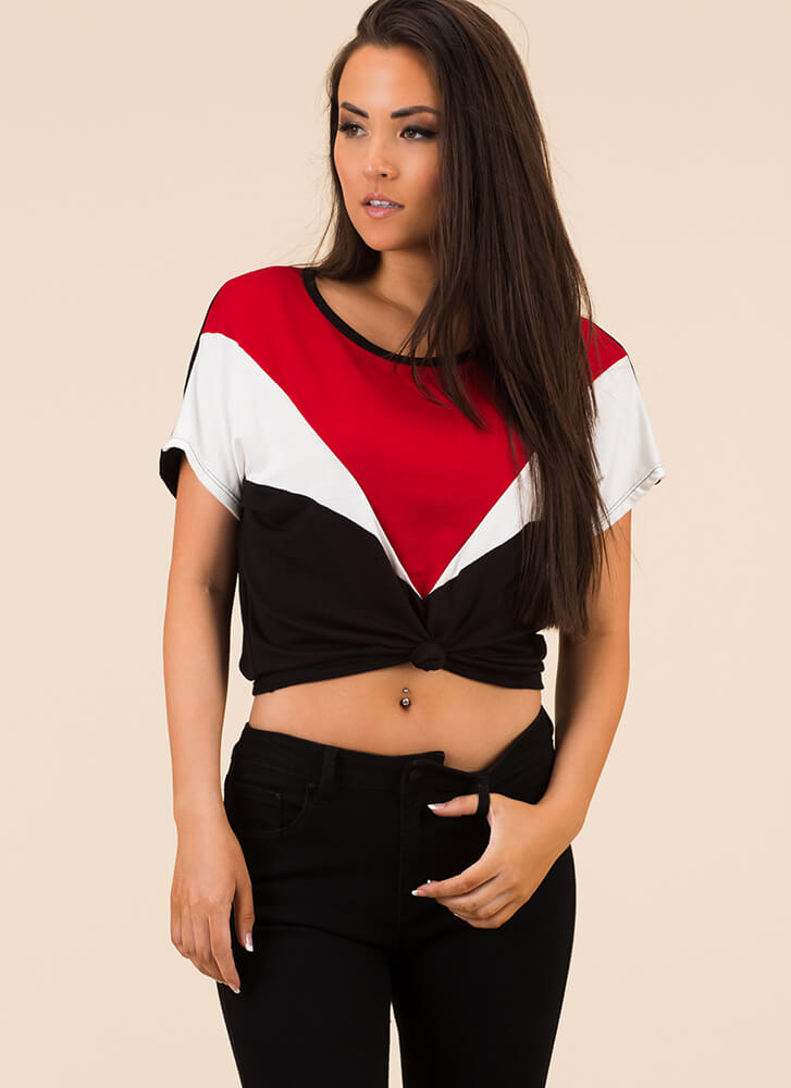 Knot Always Right Colorblock Top BLACKRED