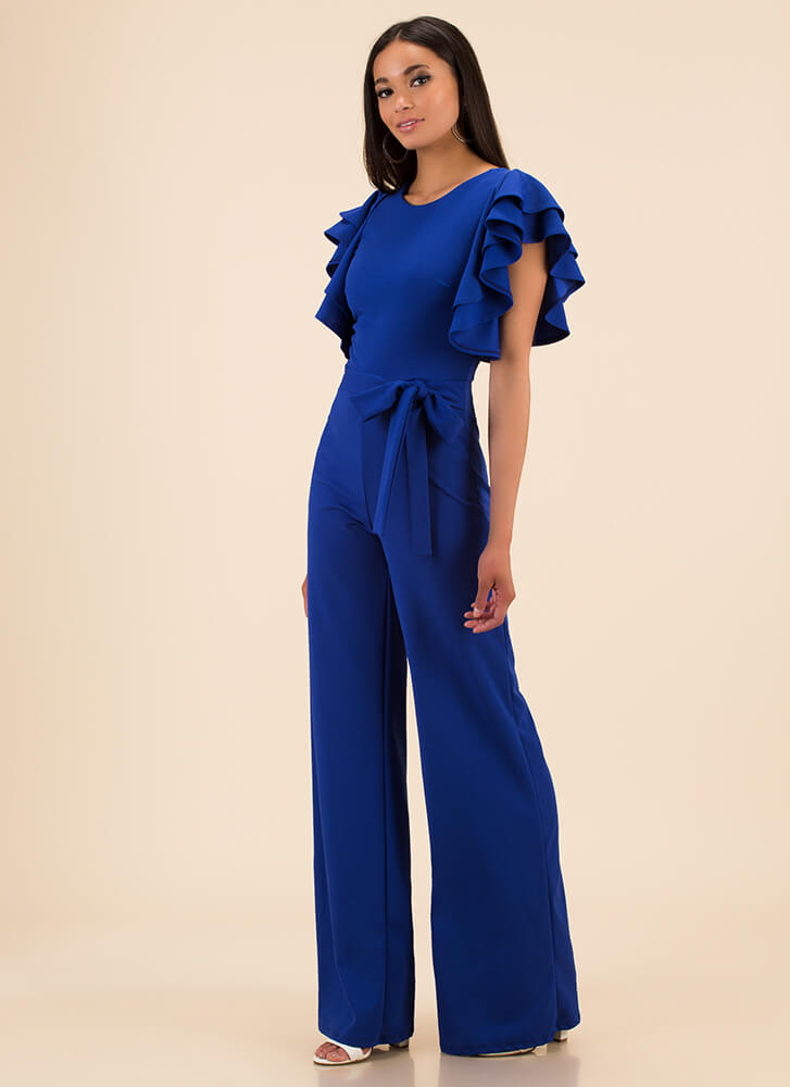 It's A Party Ruffled Palazzo Jumpsuit ROYAL