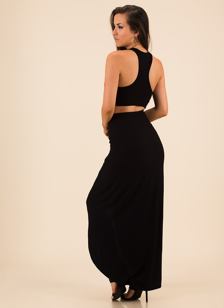 Drape It Like It's Hot Top And Skirt Set BLACK