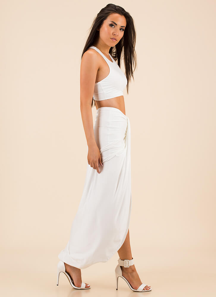 Drape It Like It's Hot Top And Skirt Set OFFWHITE