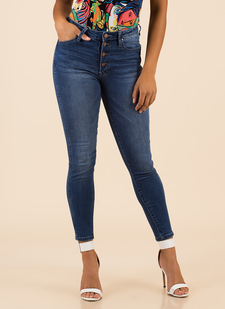 Right On The Button Fly Skinny Jeans by Go Jane