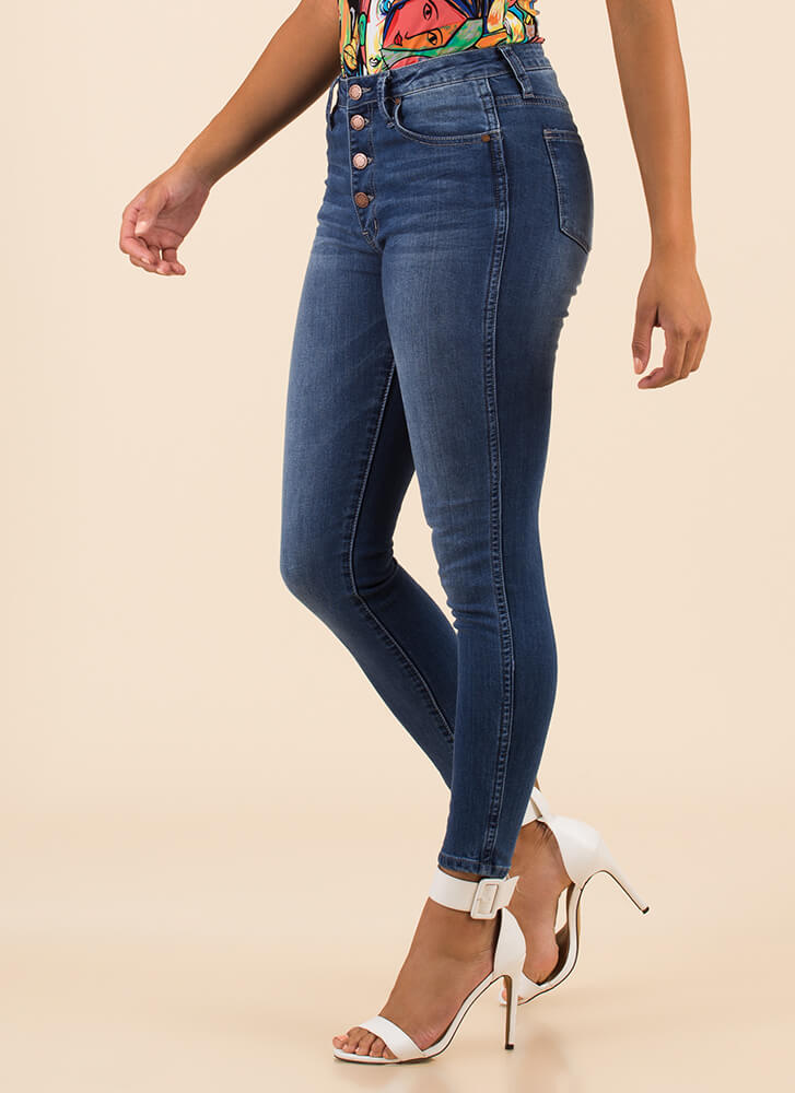 Right On The Button-Fly Skinny Jeans MEDBLUE