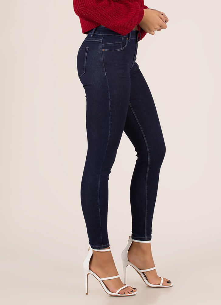Just Go With It Mid-Rise Skinny Jeans DKBLUE