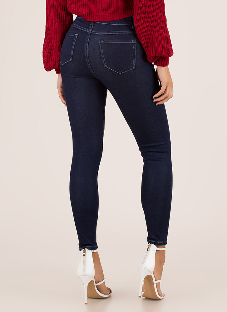 Just Go With It Mid-Rise Skinny Jeans DKBLUE (You Saved $23)