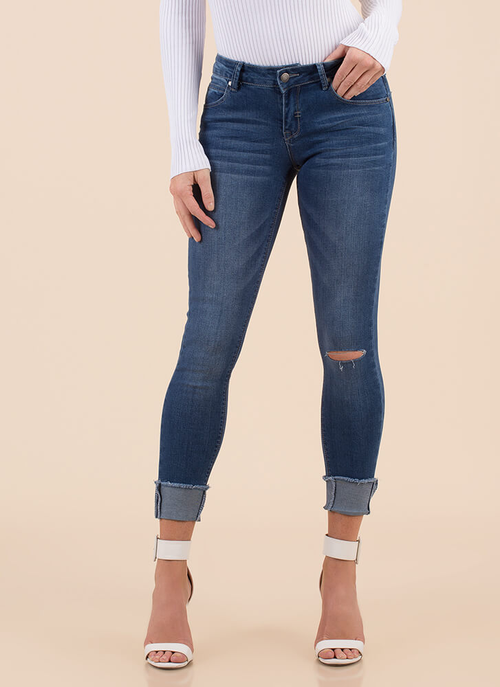 Just Perfect Cuffed Skinny Jeans MEDBLUE