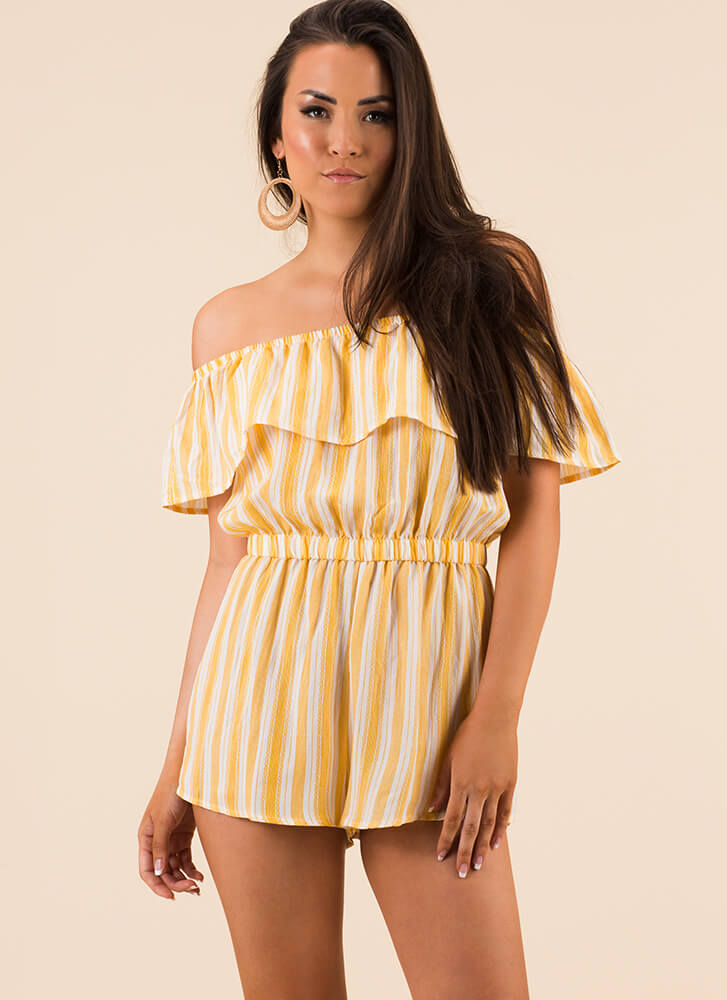 Ruffle On Striped Off-Shoulder Romper WHITEYELLOW
