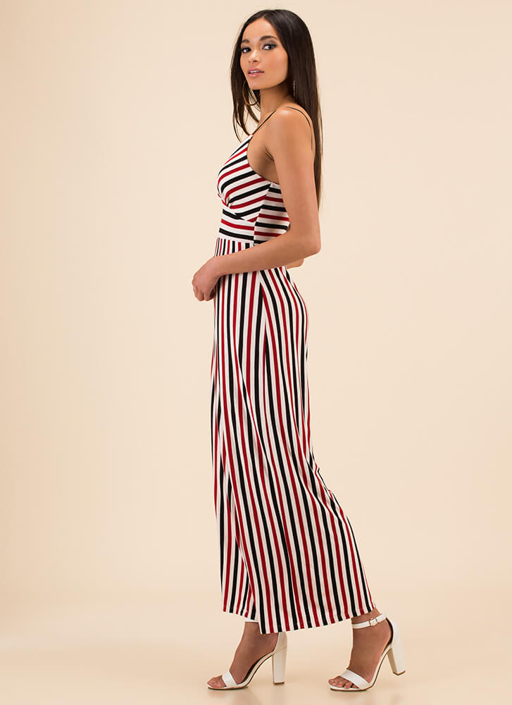 Cute Comfort Striped Palazzo Jumpsuit BLACKRED